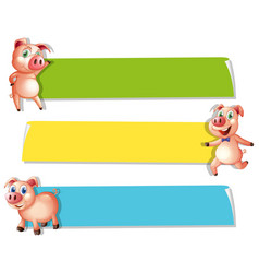 Three banners with cute pigs vector