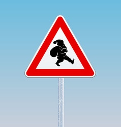 Traffic sign with a silhouette of Santa Claus vector