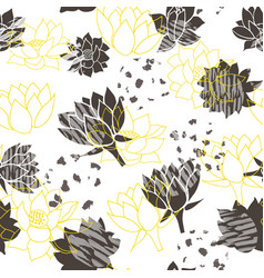 Trendy abstract yellow and grey waterlilies or vector