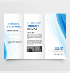 Trifold brochure design template with blue wavy vector