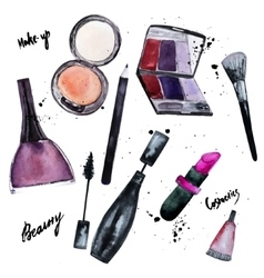 Watercolor set of Glamorous make up set of vector