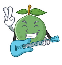 With guitar guava mascot cartoon style vector