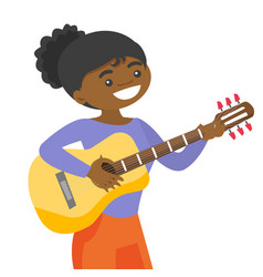 Young african-american artist playing guitar vector