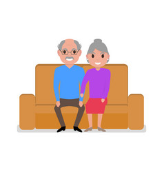 cartoon grandparents sitting on the couch vector image