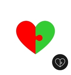 Heart puzzle logo with two color halfs vector image