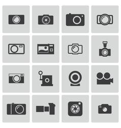 black camera icons set vector image vector image