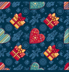 christmas gift box and patterned heart seamless vector image
