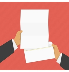 Hand holding opened envelope vector image