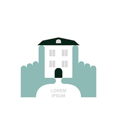 House in hands Logo and icon for property Template vector image