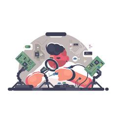 man solder iron electric board vector image