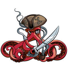 octopus the pirate vector image