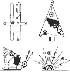 Steampunk animals graphic vector image