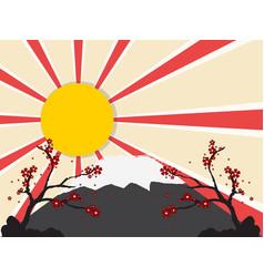 sun with mount fuji vector image