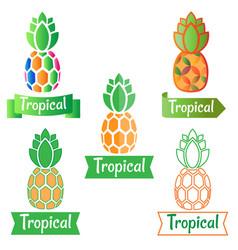 tropical logo symbol pineapple vector image vector image