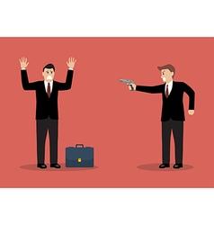 Businessman hold a handgun robs a businessman with vector