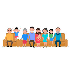 cartoon big happy family sofa vector image