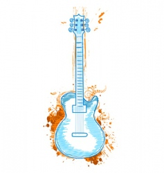 floral guitar vector image vector image