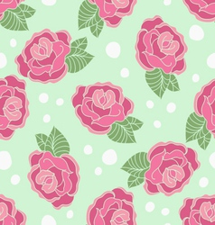 Rose seamless pattern on a polka-dot background vector image vector image
