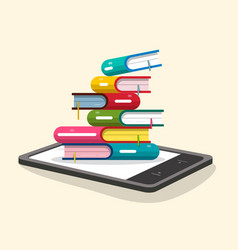 books pile with e-book reader flat design ebooks vector image