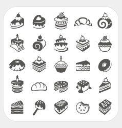Cakes and dessert icons set vector image vector image