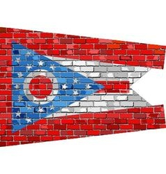Flag of Ohio on a brick wall vector image