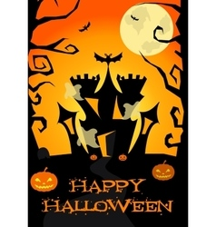 Halloween poster with castle ghosts pumpkin vector image