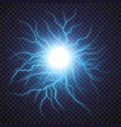 lightning flash light thunder spark on transparent vector image vector image