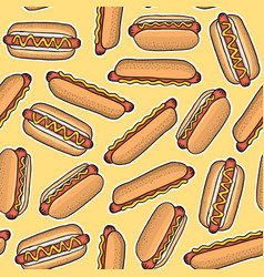 pattern of hot dogs vector image
