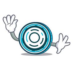 waving aion coin character cartoon vector image