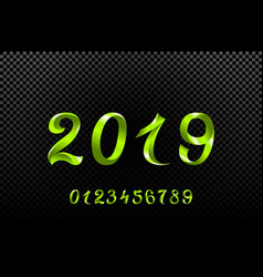 2019 green new year sign with glitter and loading vector image