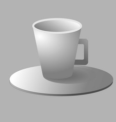 a cup of coffee and saucer top view vector image