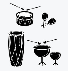 a set of percussion musical instruments vector image