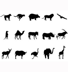 Africa animals silhouettes vector