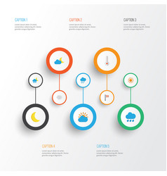 Air flat icons set collection of rain windy vector