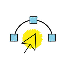 Arrow cursor with nodes design image vector