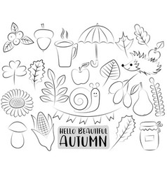 Autumn season icons set black and white hand vector