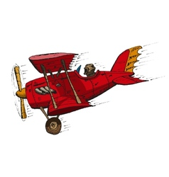 Biplane cartoon vector