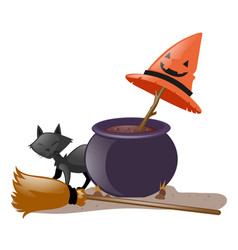 black cat and witch pot vector image