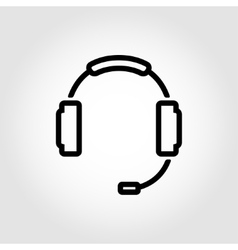 black headset icon vector image