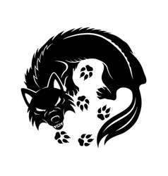 black wolf sign vector image