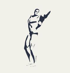 bodybuilder silhouette posing man vector image