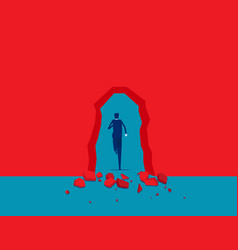 breaking through red wall break through vector image