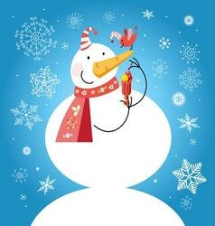 Bright funny snowman with a bird vector