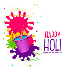 Bucket watercolor and splashes happy holi vector
