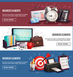 business office 3 horizontal banners vector image
