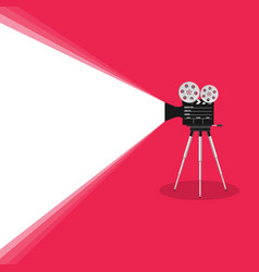 camera old movie on pink background vector image