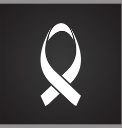 cancer awareness sign on black background vector image