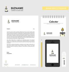 Candle business letterhead calendar 2019 and vector