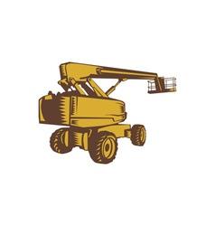 Cherry picker mobile lift platform woodcut vector