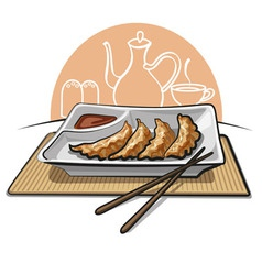 chinese fried dumplings vector image